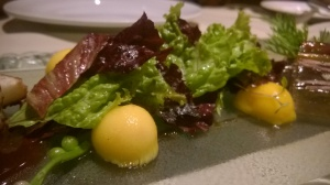mesclun greens tossed in balsamic dressing