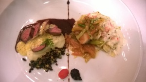Oven roasted US Angus beef striploin on potato mash and zucchini-mushroom salpicon with Madiera jus and Sauce Bearnaise; Grilled Chilean sea bass on a spiced fennel-apple compote, lemon beurre blanc and tagliatelle pasta