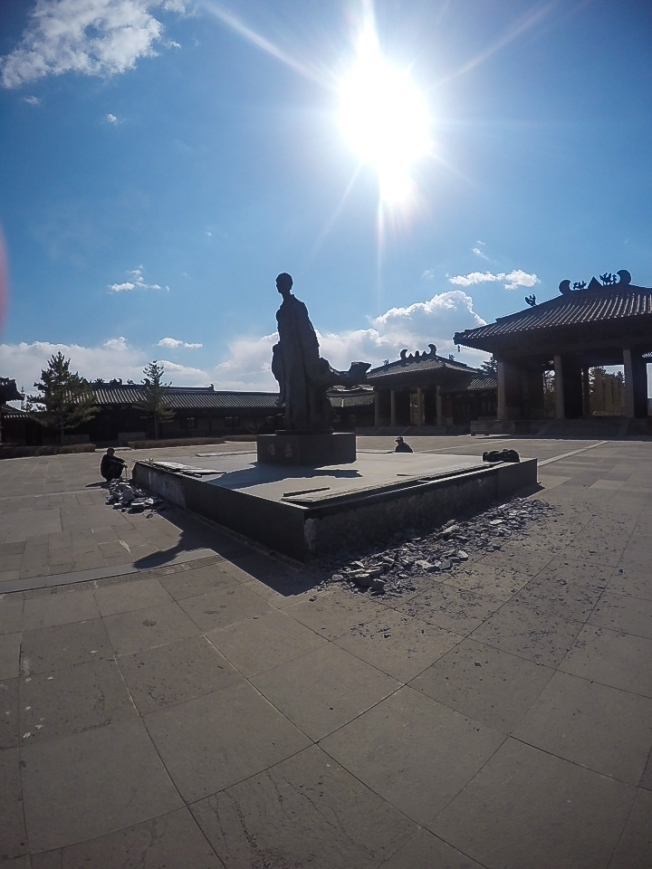 modern statue of tan yao (昙曜), the monk who began the construction of this site from the year 450.