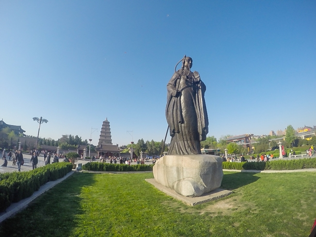 Statue of Xuanzang (玄奘) a Chinese Buddhist traveler whose legacy was the Great Tang Records on the Western Regions. His journey along the Silk Road, and the legends that grew up around it, was said to have inspired the great Chinese classic 'Journey to the West'.